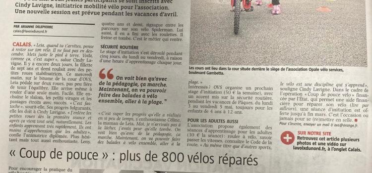 Article La Voix du Nord 8 mars 2021 sur Stage vélo-école et coup de pouce Réparation